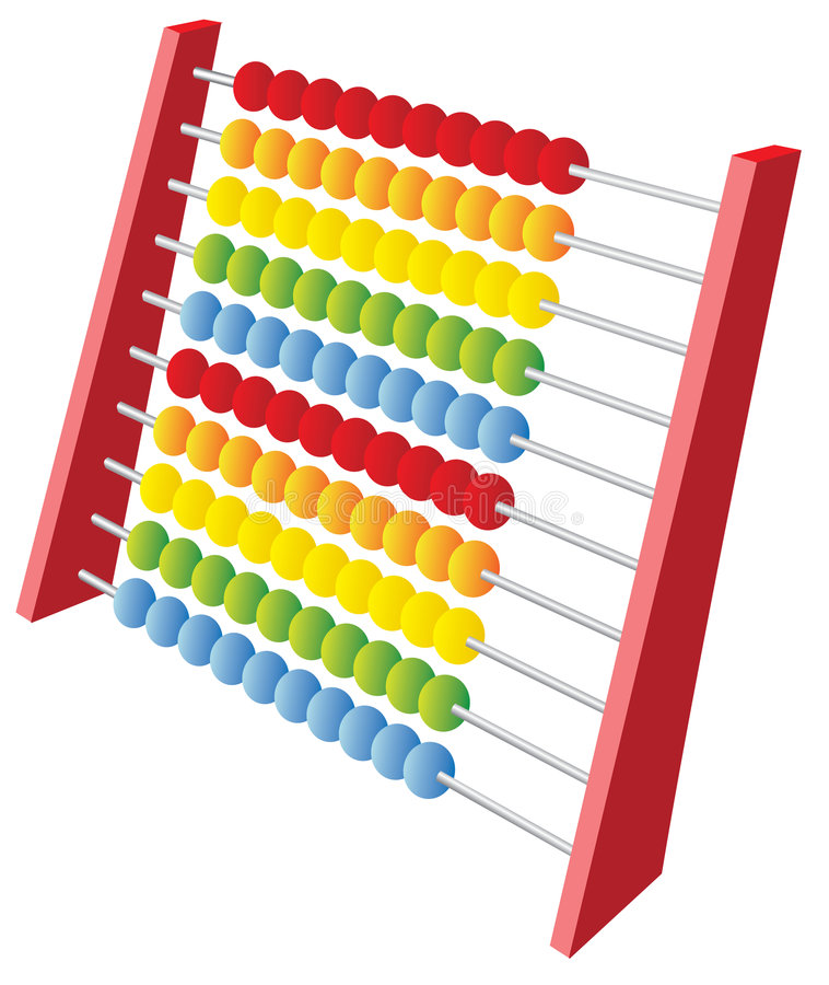 3d abacus. A 3d abacus icon isolated on white stock illustration