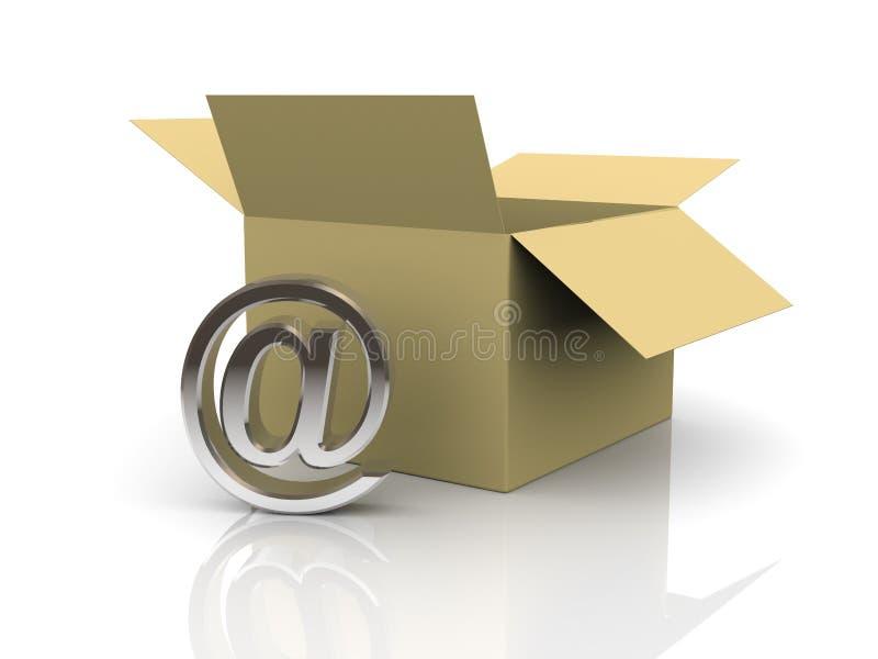 3d abrem a caixa e enviam por correio electrónico o sinal ilustração do vetor