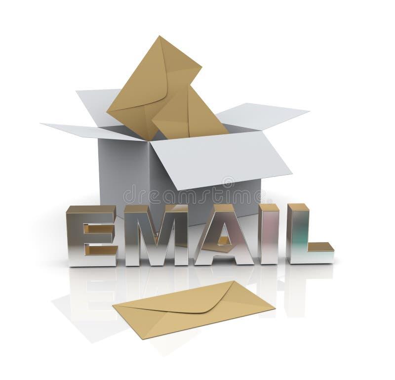3d abrem a caixa e os envelopes ilustração royalty free
