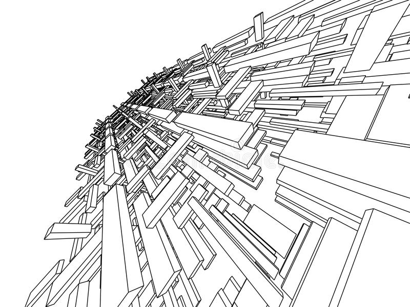 3d abstract. Three-dimensional abstraction in black and white halftones royalty free illustration