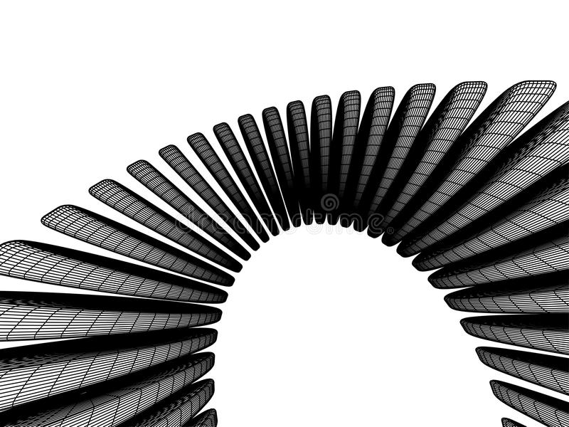 3d abstract. Three-dimensional abstraction in black and white halftones stock illustration