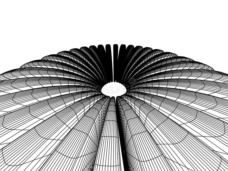 3d abstract. Three-dimensional abstraction in black and white halftones vector illustration