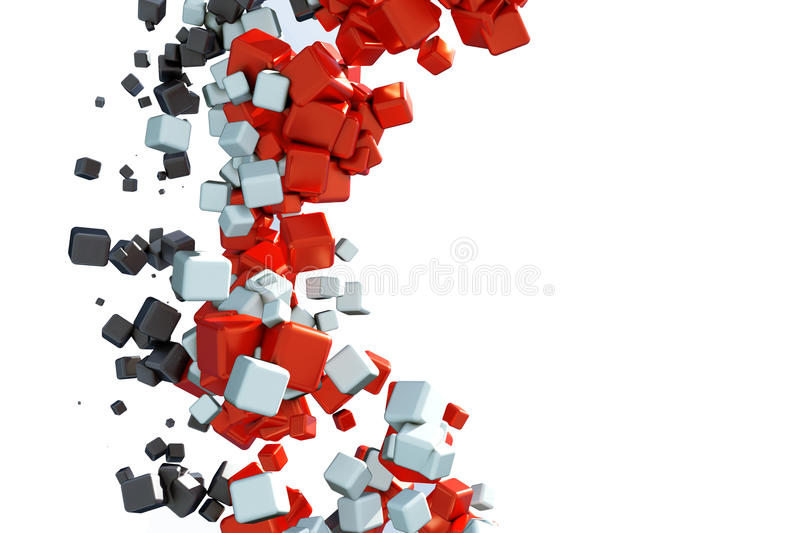 3d abstract background. With glossy red and black cubes stock illustration