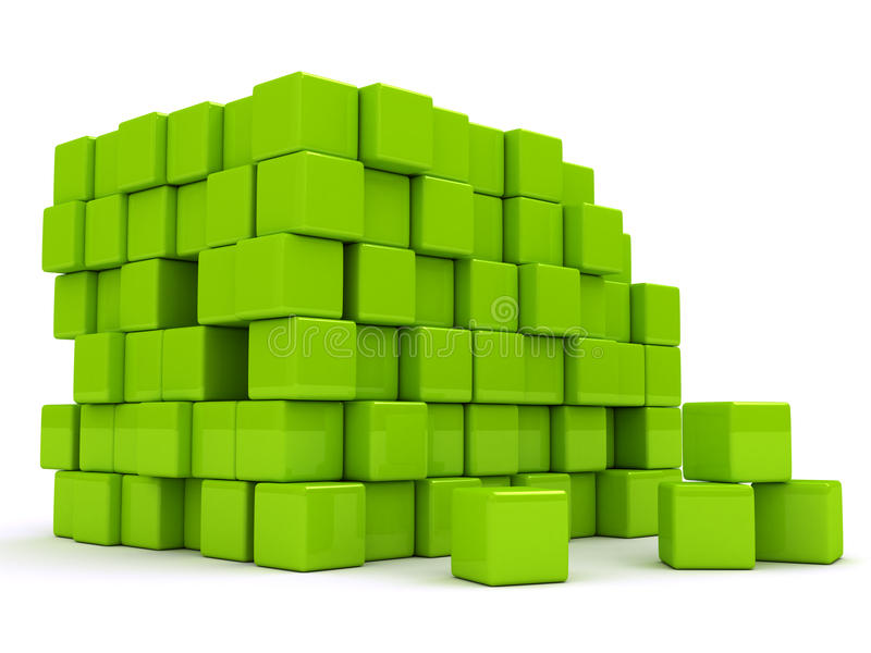3d abstract background with green cubes. stock illustration