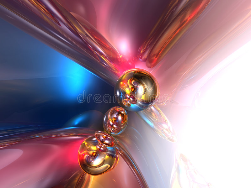 3D Abstract Blue Pink Shiny Colorful Glossy Render. Background stock illustration