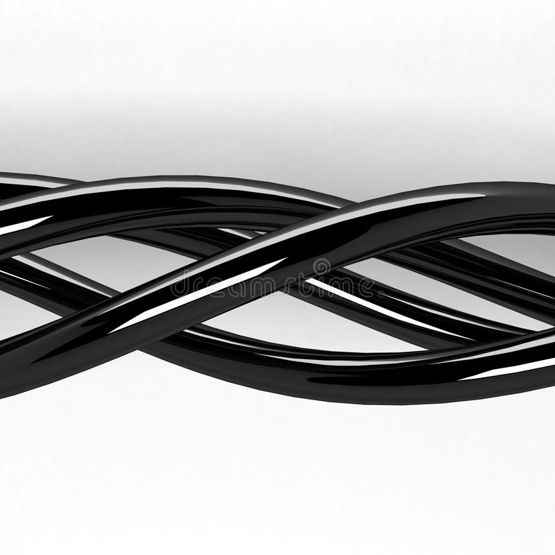 3d the abstract chromeplated intertwining threads royalty free stock images