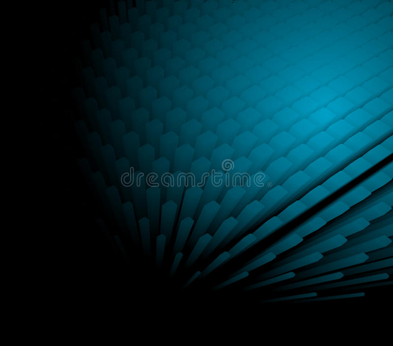 3d abstract dynamic blue background. On black