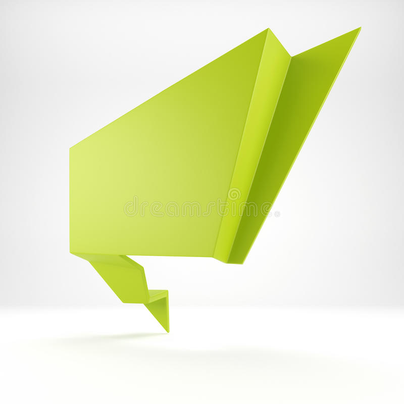 3d abstract glossy green origami speech bubble vector illustration
