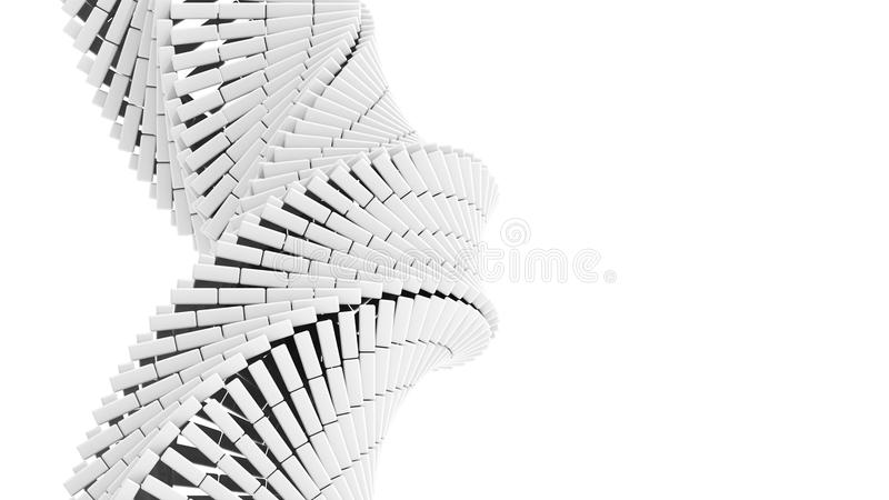 3d abstract helix made of white chamfer boxes royalty free illustration