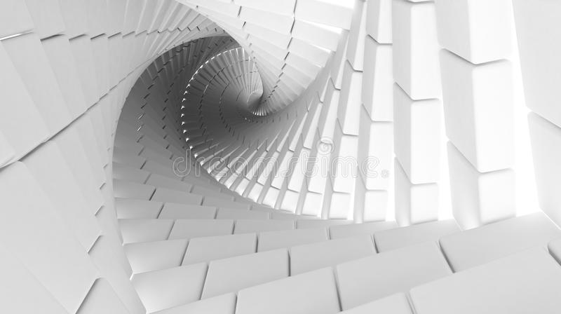 3d abstract helix made of white chamfer boxes vector illustration