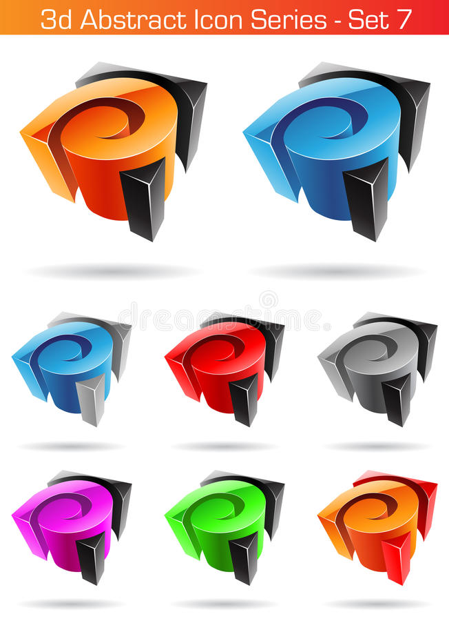 3d Abstract Icon Series - Set 7 stock illustration