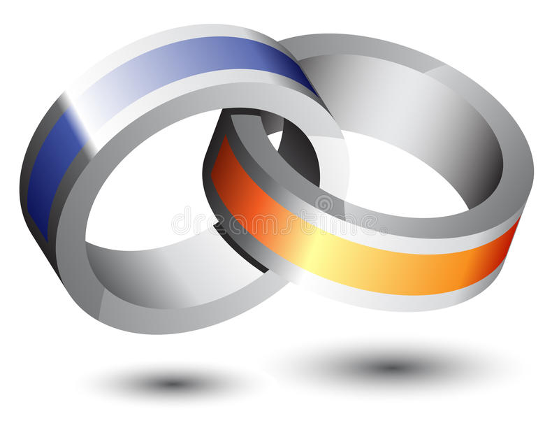 3d abstract logo. Colorful rings royalty free illustration