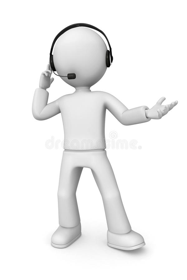 3D abstract man with headset. 3D abstract man wearing a headset with a microphone vector illustration