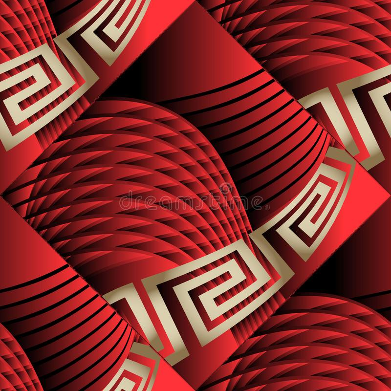 Free 3d Abstract Radial Intricate Lines Geometric Greek Vector Seamless Pattern. Ornamental Textured Tiled Red Background. Surface Royalty Free Stock Photo - 139881775