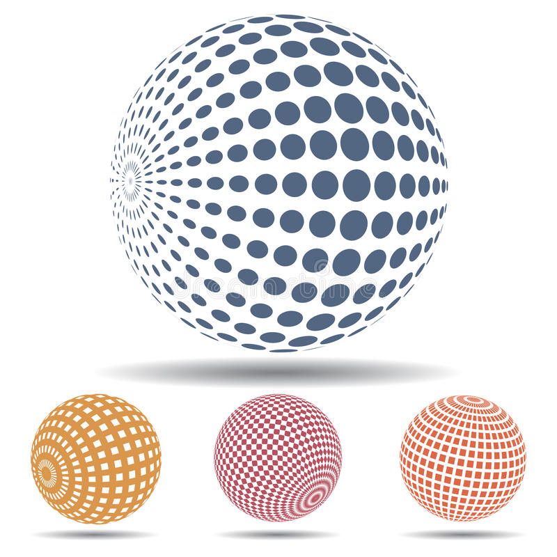 3d abstract spheres. Different 3d abstract spheres set royalty free illustration