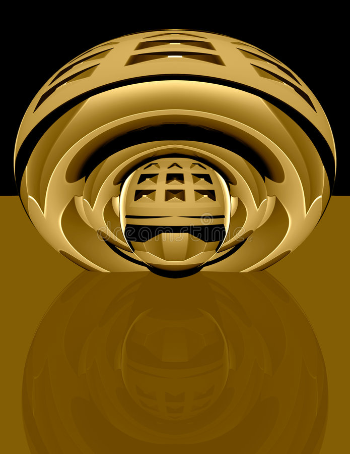 3d abstract techno brass royalty free illustration