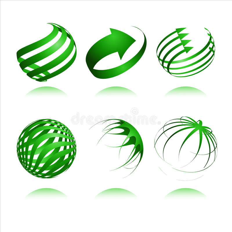 3d abstract vector design. Set of 3d abstract vector sphere element royalty free illustration