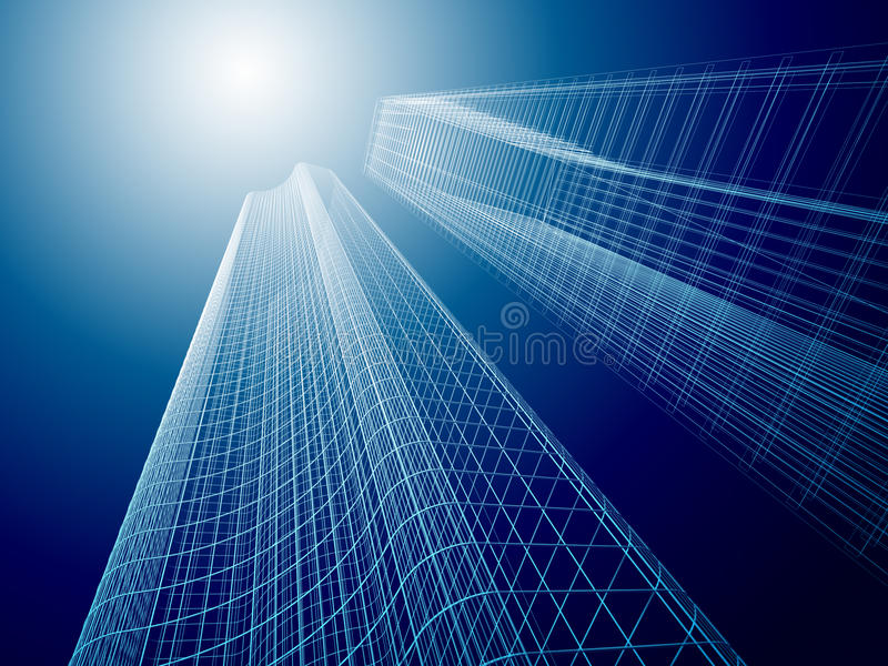 3d Abstracte Architectuur stock illustratie