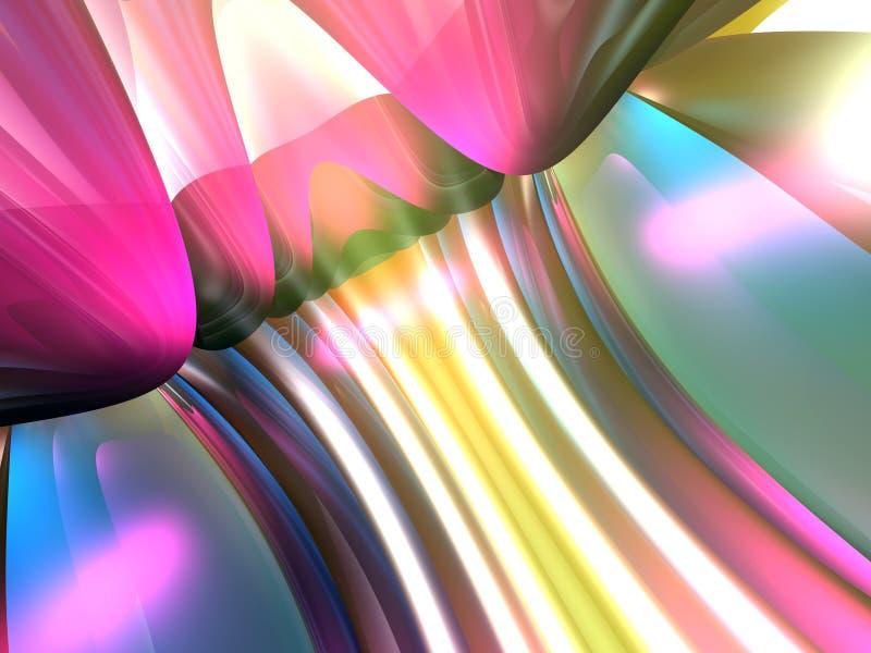 3D Abstracte Lijnen kleuren Roze Geel teruggeven royalty-vrije illustratie
