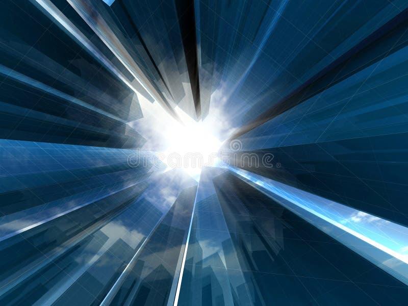 3d abstracte wolkenkrabbers voor bedrijfpresentatie. stock illustratie