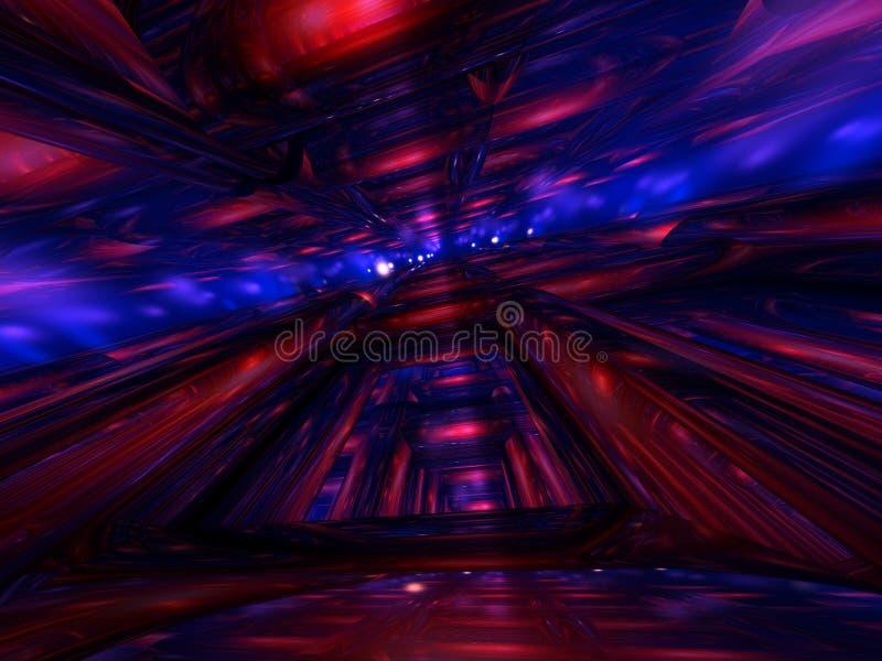 3D abstractos rinden el fondo azul rojo del tubo stock de ilustración