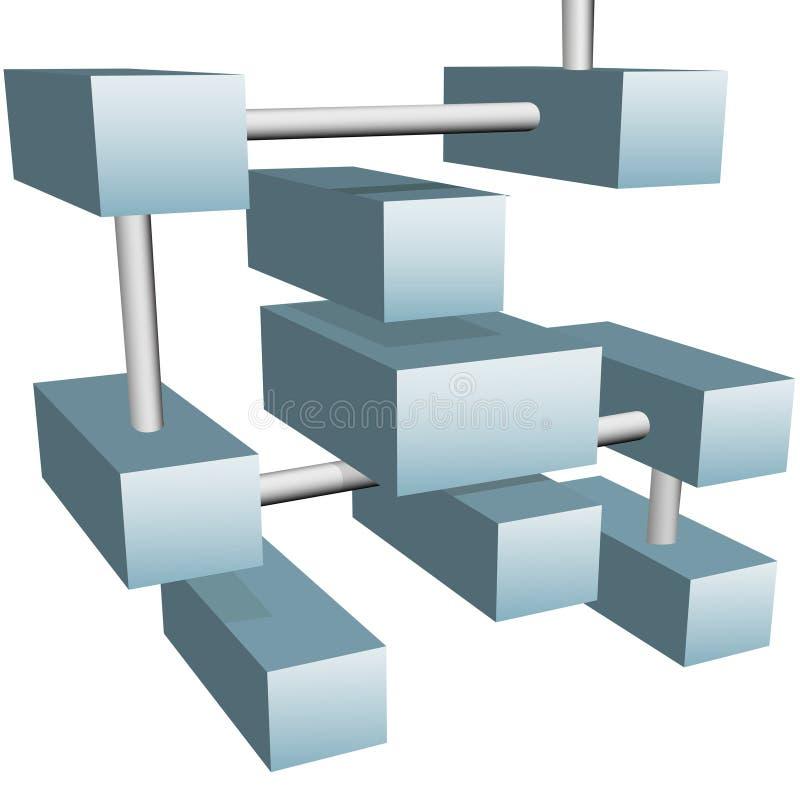 3d abstrakcjonistyczna związków sześcianów sieć przesyłania danych ilustracja wektor
