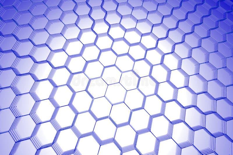 3d abstrakcjonistycznego tła błękitny sześciokąta xray ilustracja wektor