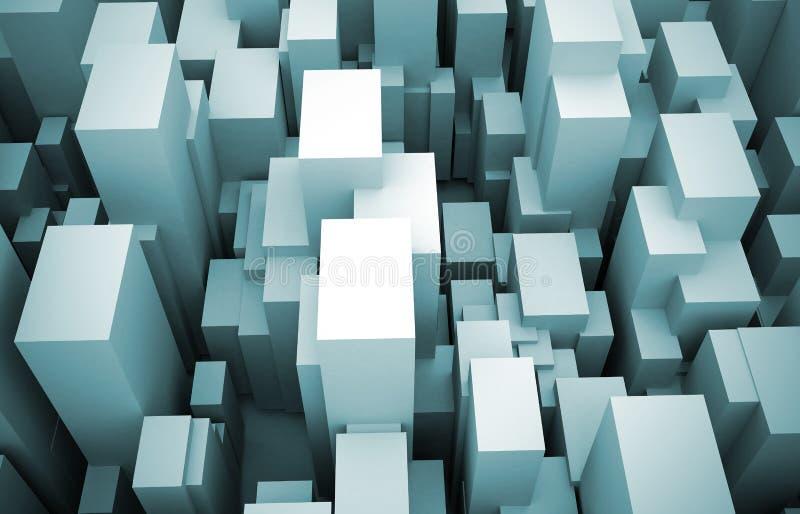 3d abstrakcjonistyczny bloków miasta wydźwignięcie ilustracja wektor