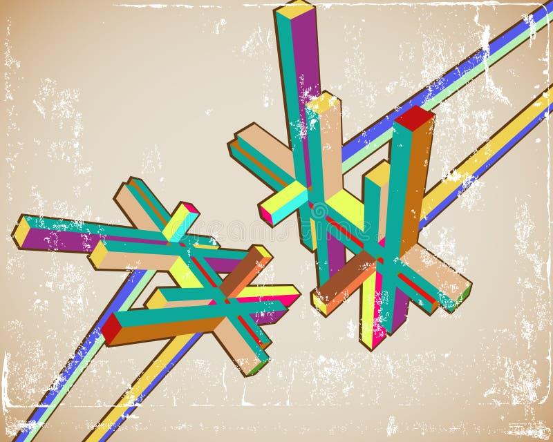 3d abstrakta rocznik ilustracja wektor