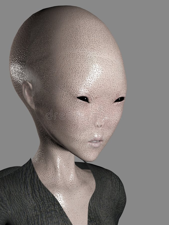 3D Alien Face Stock Image
