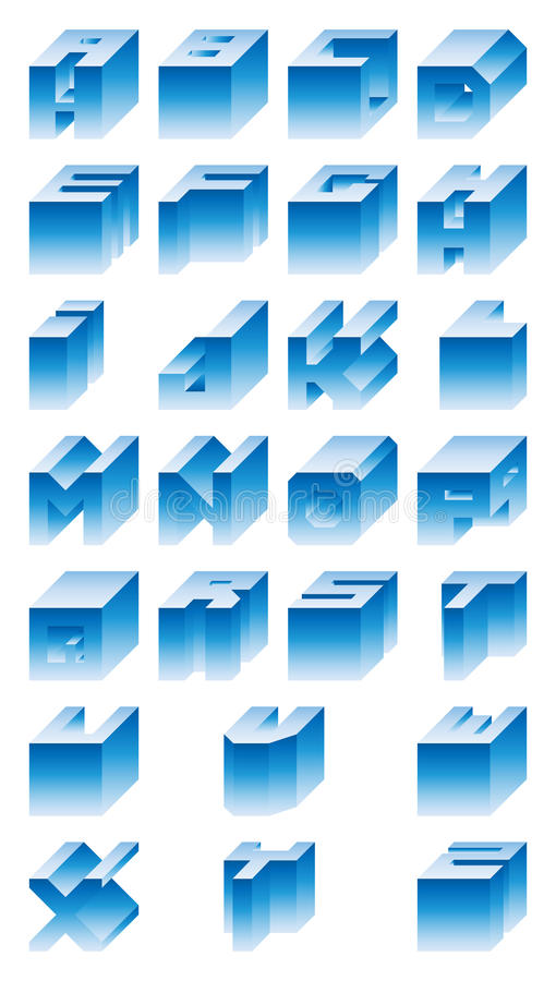 3D Alphabet stock illustration