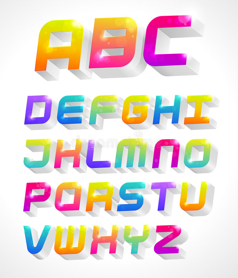 3d alphabet stock illustration