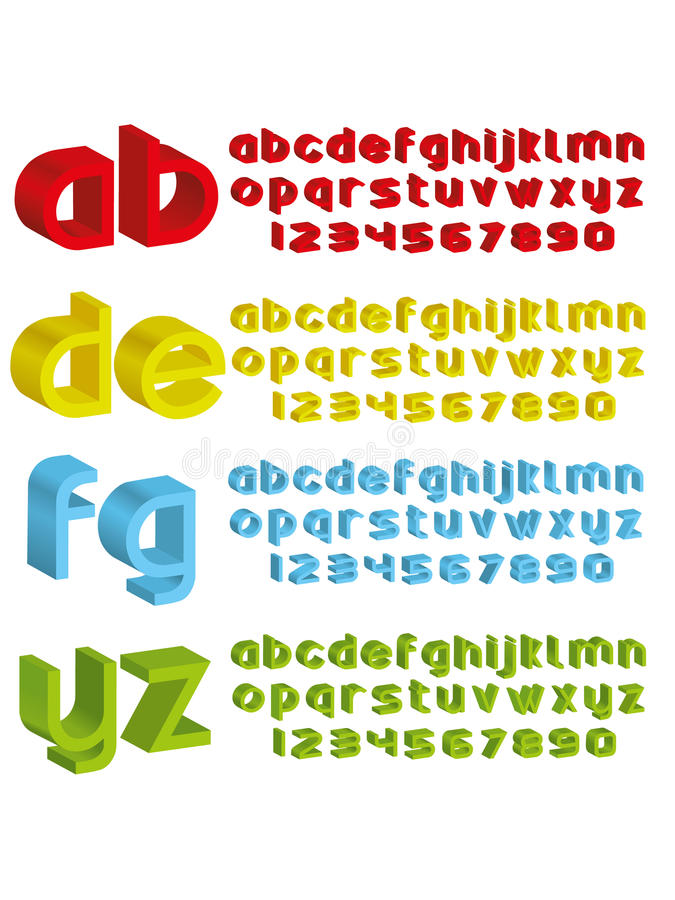 3d alphabet in different colours