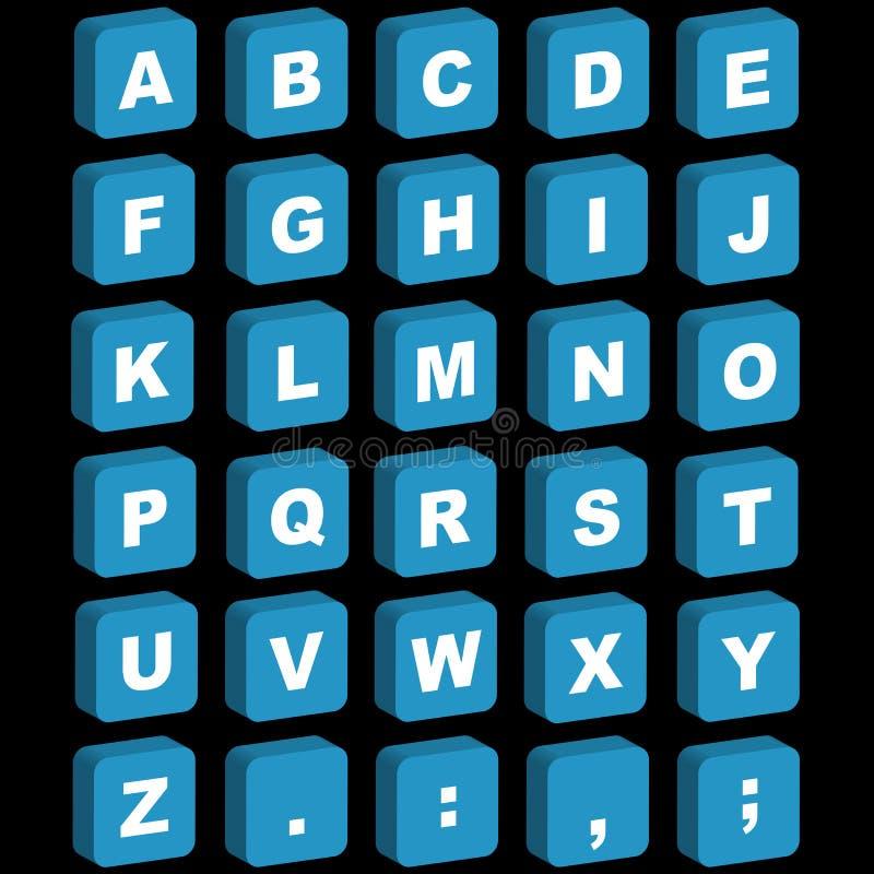 3D alphabet icons - uppercase stock illustration
