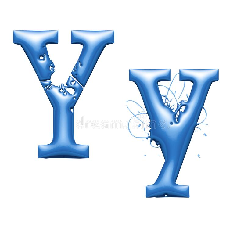 Free 3d Alphabet, Metallic Blue Letter Y, 3d Illustration Stock Photos - 180681003