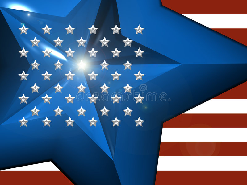 3d American Flag vector illustration