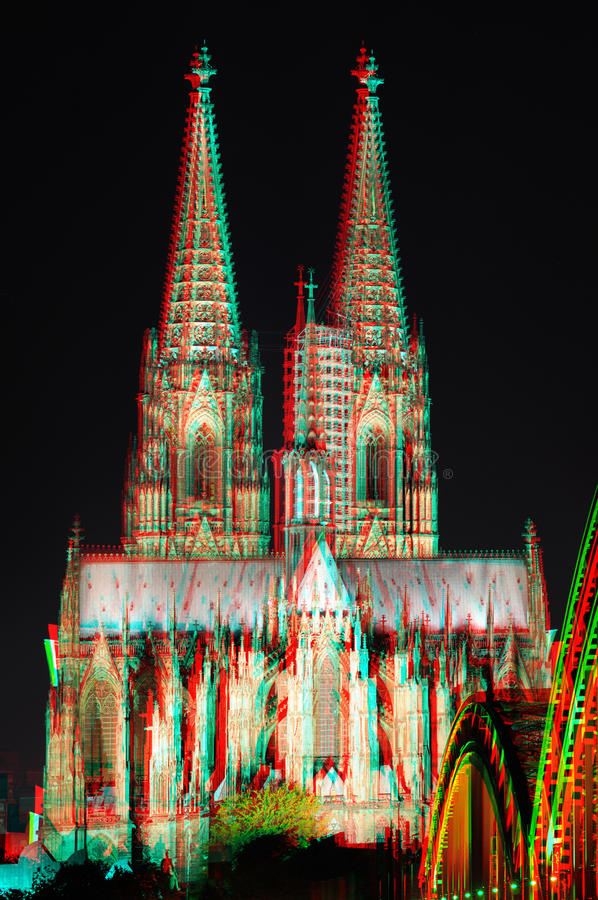 3D anaglyph stereo image Cologne Cathedral royalty free stock photography