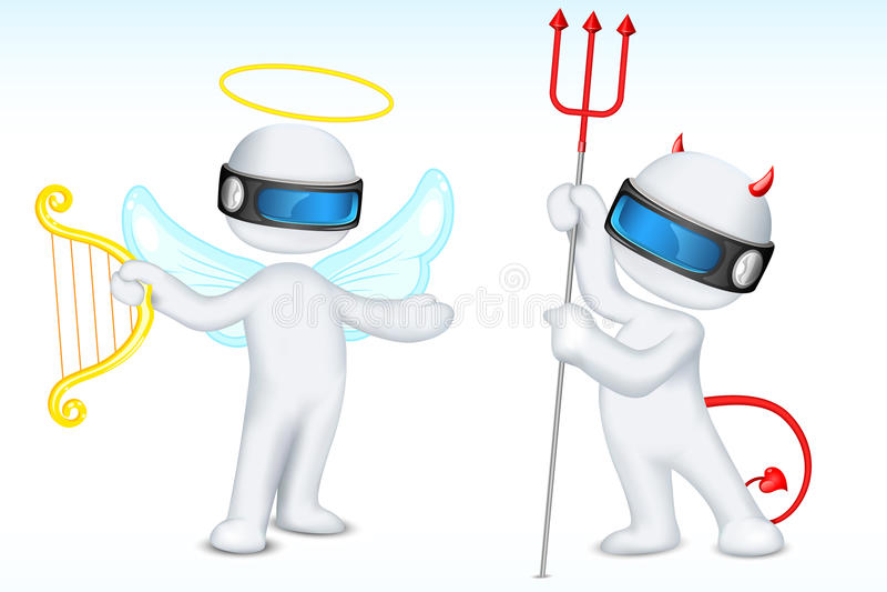 3d Angel and Devil royalty free illustration