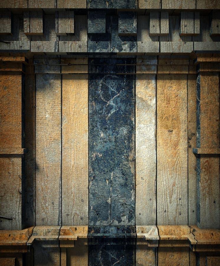 3d antykwarska architektury tła ściana drewniana royalty ilustracja