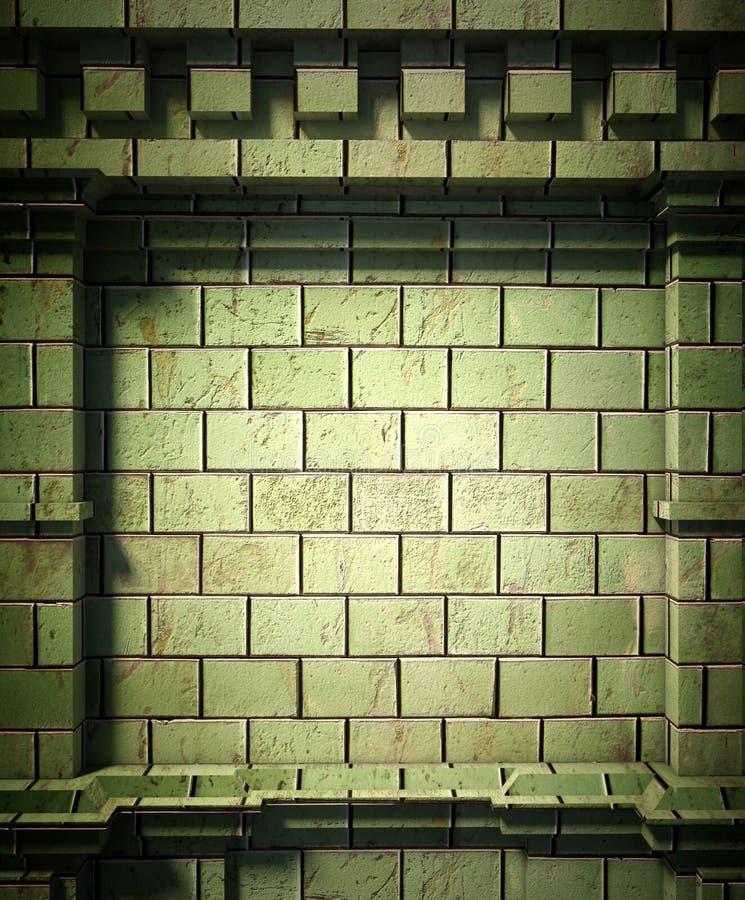 3d antykwarski architektury tła ściana z cegieł royalty ilustracja