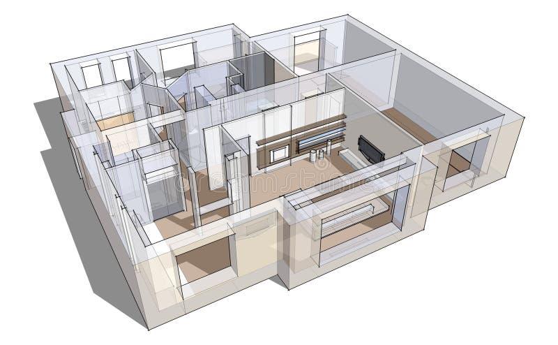 Download 3d apartment sketch stock illustration. Image of prints - 23993509