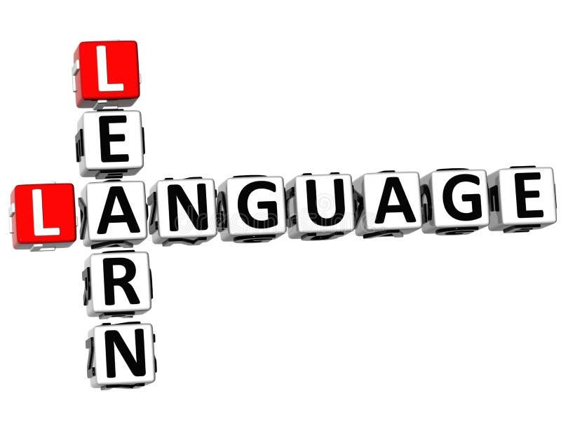 3D aprendem palavras cruzadas da língua ilustração stock
