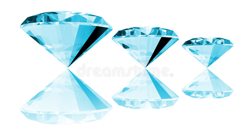 3d Aquamarine Gem Isolated stock illustration