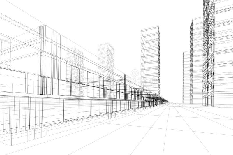 3D architectuursamenvatting royalty-vrije illustratie
