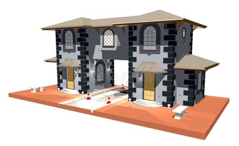 3d arkady miasta budowy brama ilustracja wektor