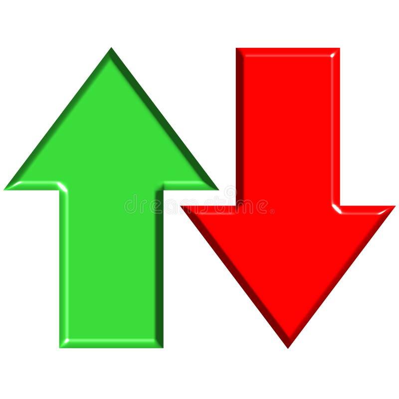 3D arriba y abajo de flechas ilustración del vector