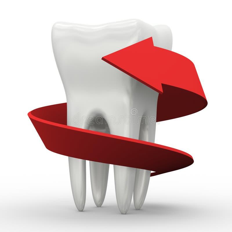 3d arrow around white tooth stock illustration