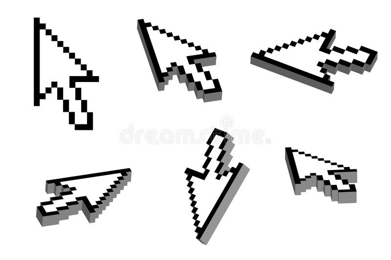 3D Arrow Cursor. Arrow cursor with 3D effect in six different view angles