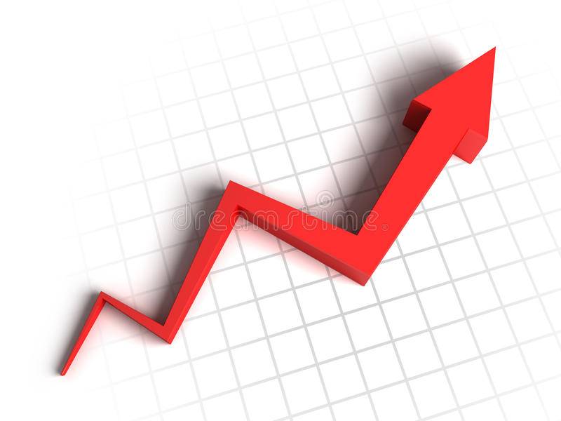 3d arrow graph. 3d red arrow graph growth up stock illustration
