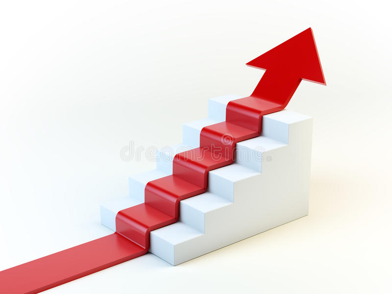 3D arrow on a staircase royalty free illustration